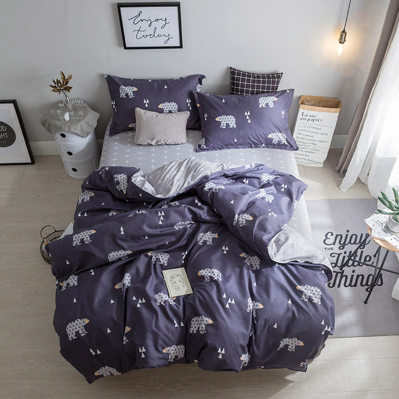 Costbuys  Hot Sale Duvet Cover Queen Bedding Set King Size 4pcs with Quilt Cover, Bed Sheet, PillowCase - 17 / Single 3pcs