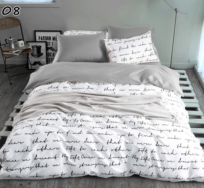 Costbuys  Bedding Sets King Size Duvet Cover Set 2/4 PCS Bedding Sheet Set Twin Single Queen linens Set White And Black - 08 qin