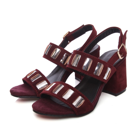 Costbuys  Women Sandals Fashion Summer Buckle Strap High Heel Pumps Woman Shoes Black Pink White Wine Red - wine red / 9.5