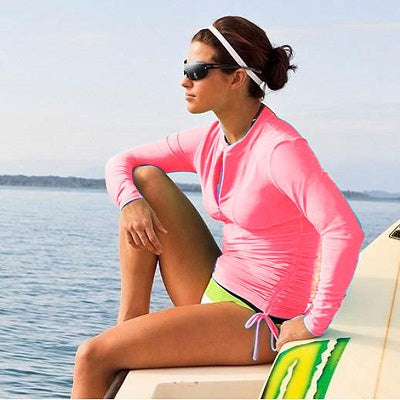 Costbuys  UV Protection Long Sleeve Swimsuit Dress Wetsuit Women Surf Women's Rash Guards Front Zip Rash Tee For Diving Surfing