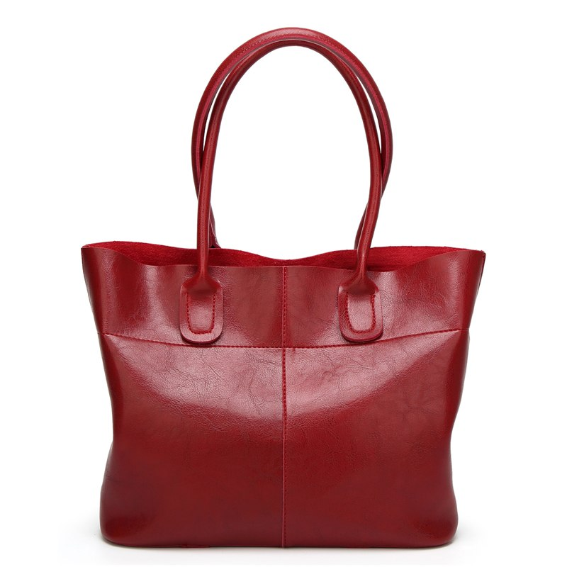 Costbuys  Top-Handle Women Shoulder Bags Fashion Solid Leather Women's Handbags Female Large Tote Bag bolsos mujer - Wine Red