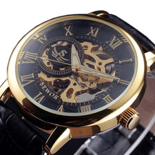 3d Logo Design Luminous Hollow Engraving Black Gold Case Leather Skeleton Mechanical Watches Men Luxury Heren Horloge