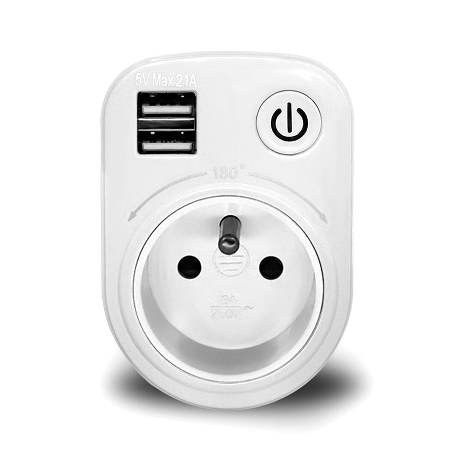 Costbuys  SH-50 Smart Socket 5V Max 2.1A Indoor Electronic Smart 2 USB Ports 180 Degree Wall Switch for Smart Home Automation -