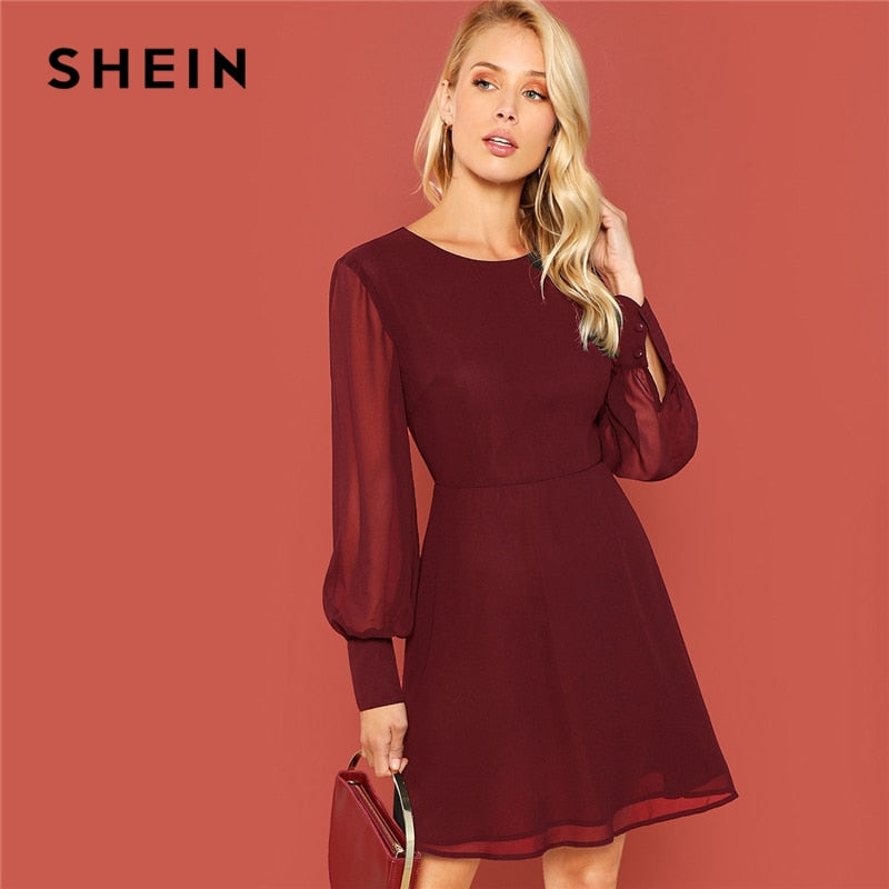 44f2aed4e5 Burgundy Sheer Bishop Sleeve Fit & Flare Dress Elegant Office Lady Solid  Dress 2018 Autumn