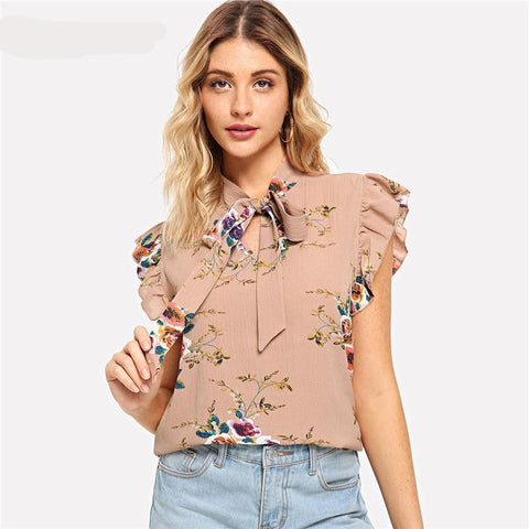 17a3a1562155bc Flounce Shoulder Tied Neck Floral Blouse Pink Ruffle Sleeveless Chiffon Blouses  Women Summer Casual Elegant Tops