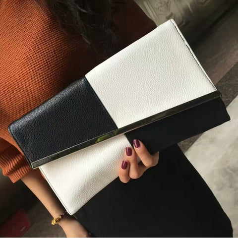 New Women PU Leather Large Capacity Evening Clutch Bag Female Patchwork Handbag  Wedding Party Chain Purse Day Clutches fe3ae6e8c6db