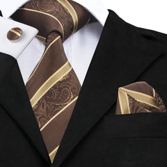 Sienna Darkgoldenrod Striped Tie Hanky Cufflinks Sets Men's 100% Silk Ties for men Formal Wedding Party Groom