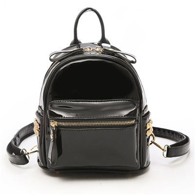 Costbuys  Female Fashion Girls Bags Black Backpack Vogue Black Backpacks Mini Fashion Women Backpack For Girls Backpacks - Black