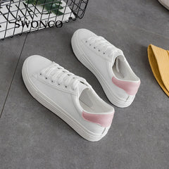 Women's Vulcanize Shoes Spring Autumn PU Leather Sneakers White Shoe Casual Shoes Women Flats Candy Color Ladies Shoe