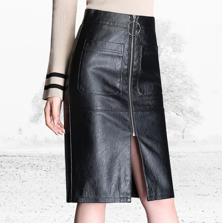 509b994e71 4XL Plus Size Leather Skirt Woman Black Knee High Long A Line Skirts Female  High Waist
