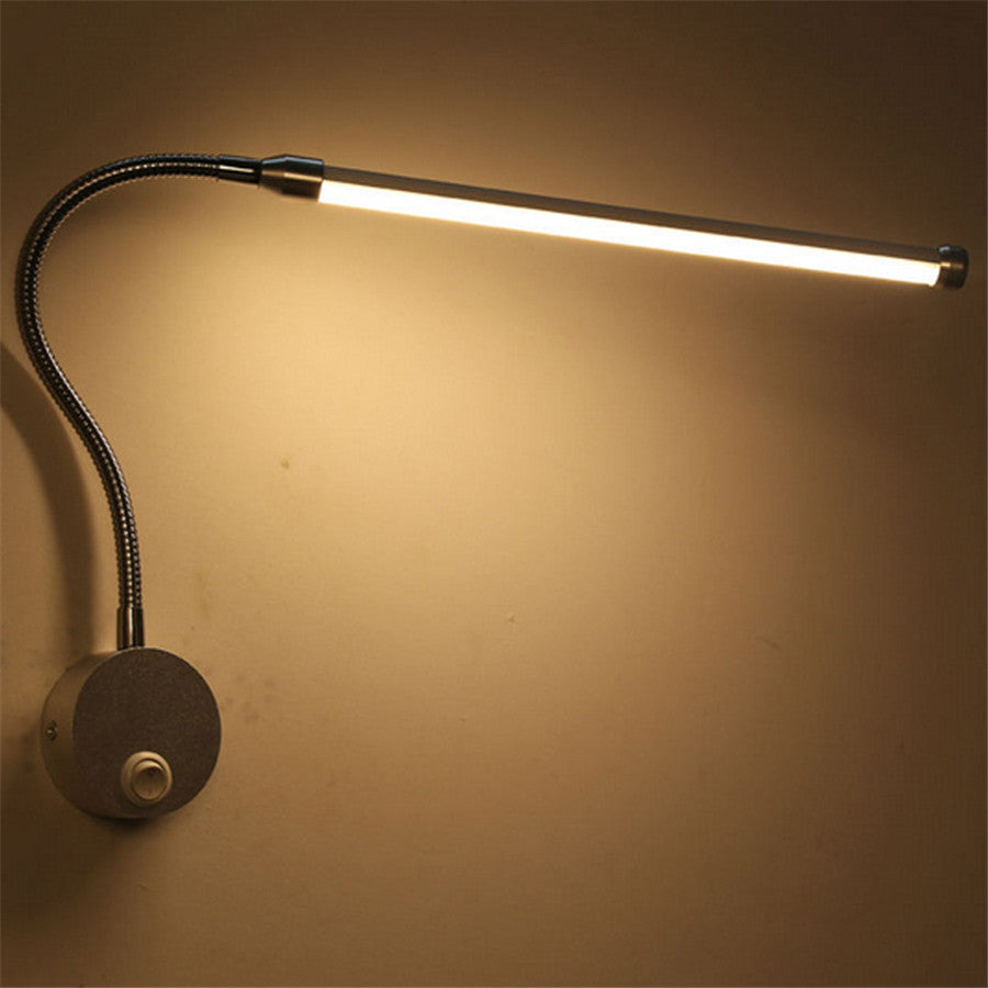 Costbuys  Led Wall lamp with Flexible Tube AC220V indoor lighting for reading,bedside Wall mounted White or Warm White - Silver