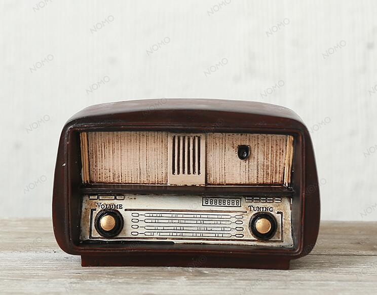Costbuys  Vintage Home decor Zakka Brown Radio resin miniatura Model craft Display Ornament Christmas Birthday Festival Gifts -
