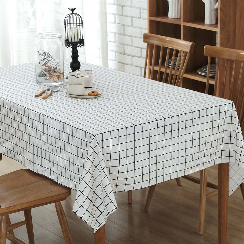 Costbuys  Modern Canvas Tablecloth White Plaid Hotel Conference Table cloth Cover towel Wedding Banquet Table Cover Textiles - C