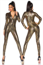 Sexy Black Wet Look Snake Jumpsuit PVC Latex Catsuit Nightclub DS Costumes Women Bodysuits Fetish Patent Leather