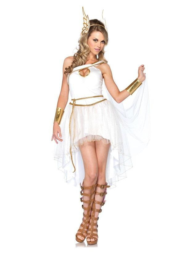 Costbuys  Sexy Greek Goddess Costumes Adult Woman Halloween Cute Roman Princess Costume Masquerade Party Dress - White / One Siz