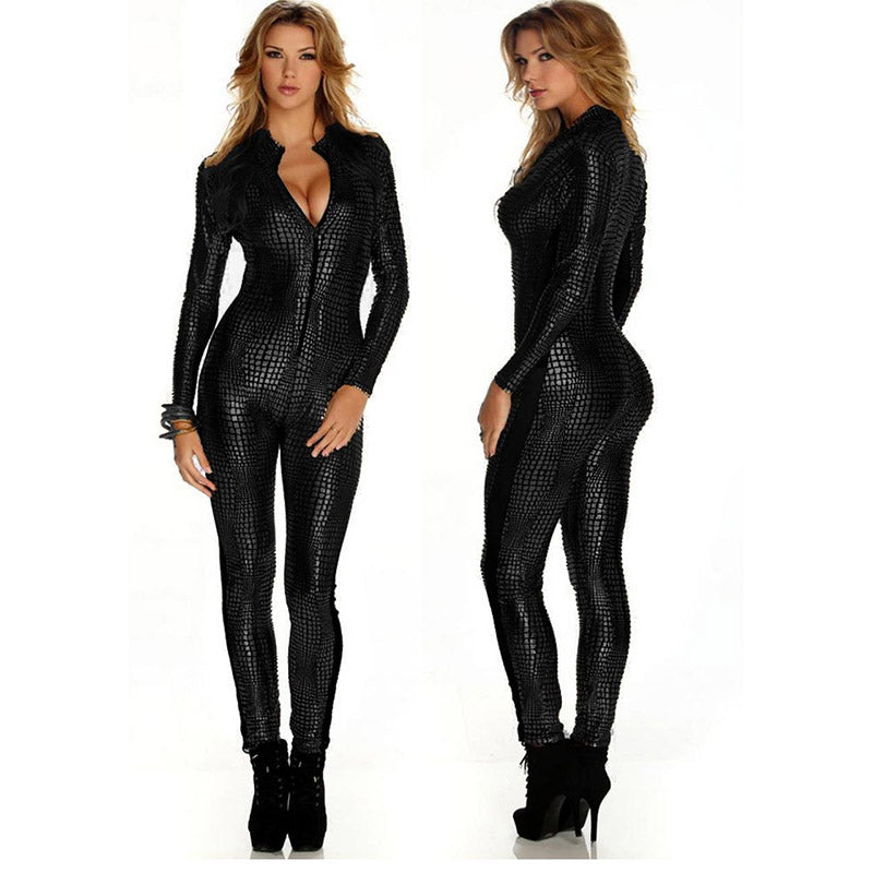 Sexy Jumpsuit For Women Vinyl Leather Jumpsuit Black Sliver Gold Sexy Leather Bodysuit