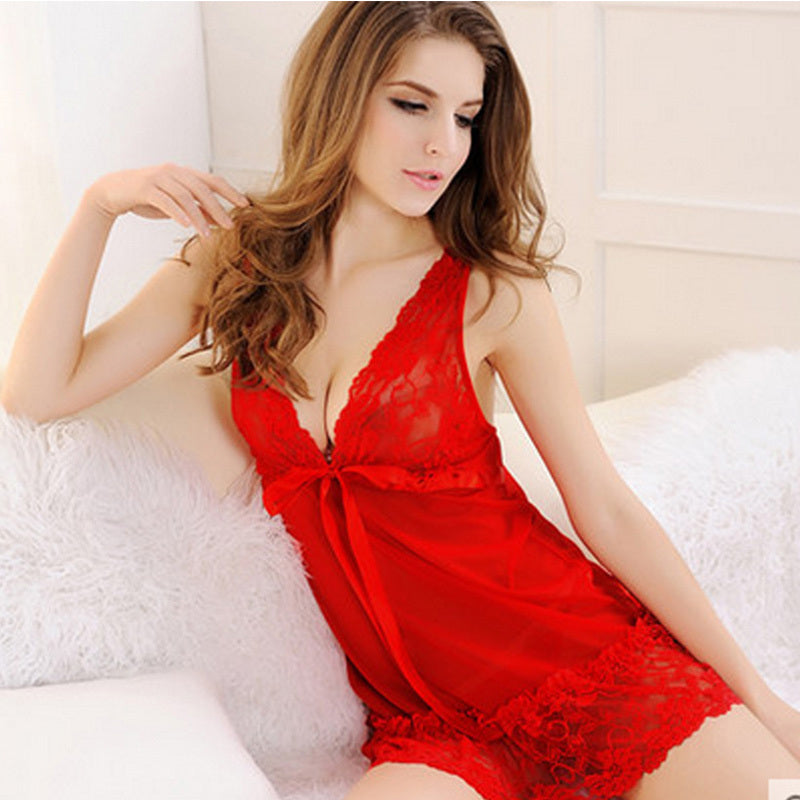 fd8a825b1 Sexy Lingerie Woman Hot Underwear Lace Bow V-neck Pajamas Babydoll Costumes  Sleepwear Nightgown+