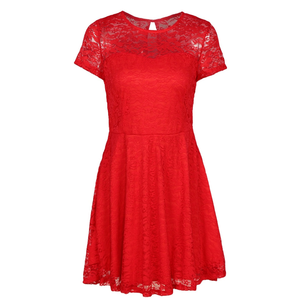 Sexy Women Floral Lace Dress Summer Round Neck Short Sleeve A-line Dress Pleated Swing Cocktail Party Dress Blue/Black/Red