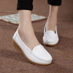 Genuine Leather Flats Shoe Fashion Casual Slip On Soft Loafers Spring Autumn Female Driving Shoes