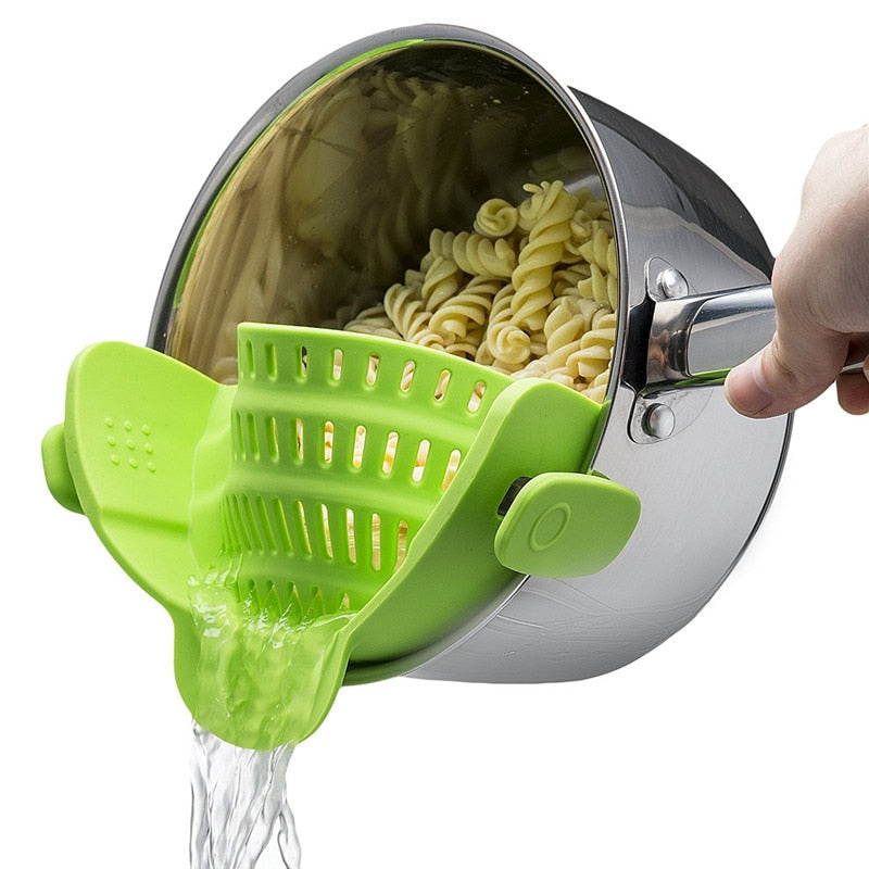 Costbuys  Silicone Pot Pan Bowl Funnel Strainer Kitchen Rice Vegetables Fruit Washing Colander Kitchen Accessories Cooking Tools
