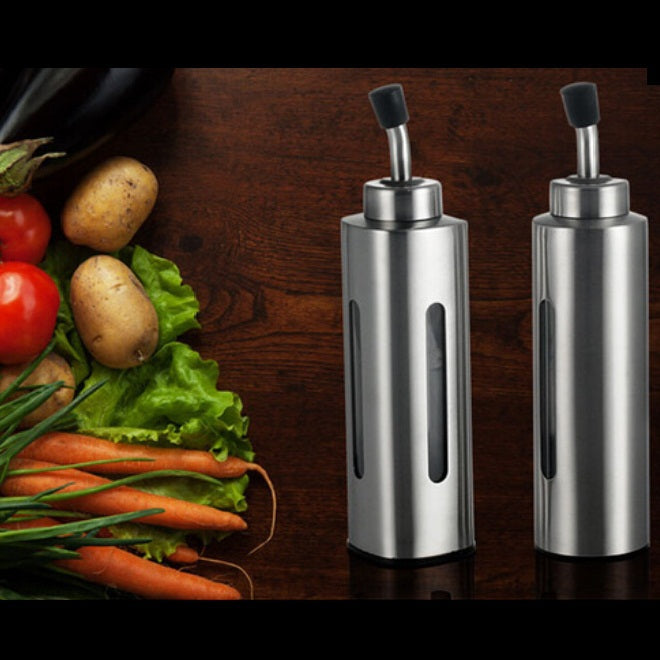 Costbuys  Silver Stainless Steel Olive Pump Spraying Oil Bottle Sprayer Can Oil Jar Pot Tool Can Pot Cookware Kitchen Tools ss83