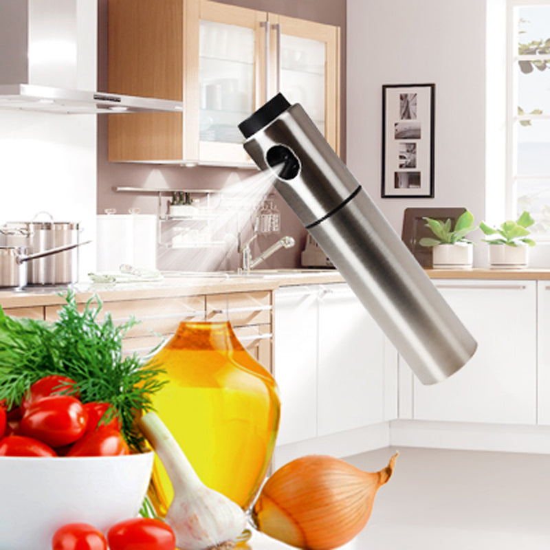 Costbuys  Silver Stainless Steel Olive Pump Spraying Oil Bottle Sprayer Can Oil Jar Pot Tool Can Pot Cookware Kitchen Tools Fras