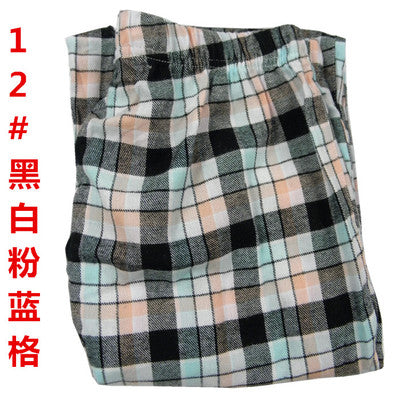 Costbuys  Sleep Pants Women Autumn And Winter Trousers 100% Cotton Woven Flannel Long Pants Couple lounge Pants Men - Black and