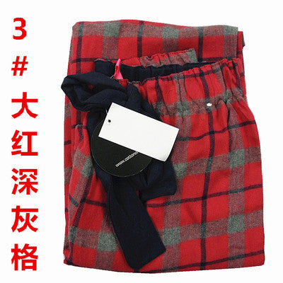 Costbuys  Sleep Pants Women Autumn And Winter Trousers 100% Cotton Woven Flannel Long Pants Couple lounge Pants Men - Red gray g