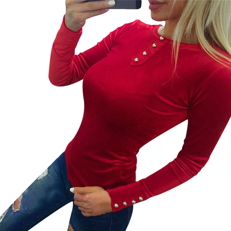 Costbuys  Slim Fitness Velvet Tunic Tops For Women Summer Long Sleeve Cotton Blouse Ladies Causal Tee Shirts - 2 / S