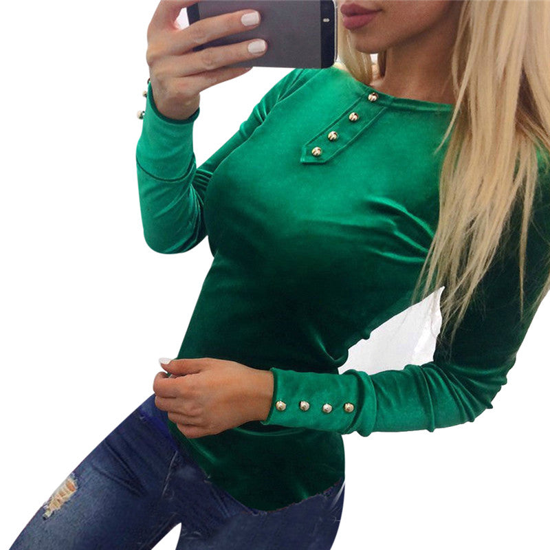 Costbuys  Slim Fitness Velvet Tunic Tops For Women Summer Long Sleeve Cotton Blouse Ladies Causal Tee Shirts - 1 / S