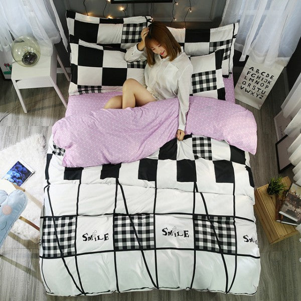 Costbuys  Small Daisy Cozy Home Textile 4pcs Bedding Set Bed Cover Bed Sheet Duvet Cover Pillowcase Bed Bedclothes Queen Elegant