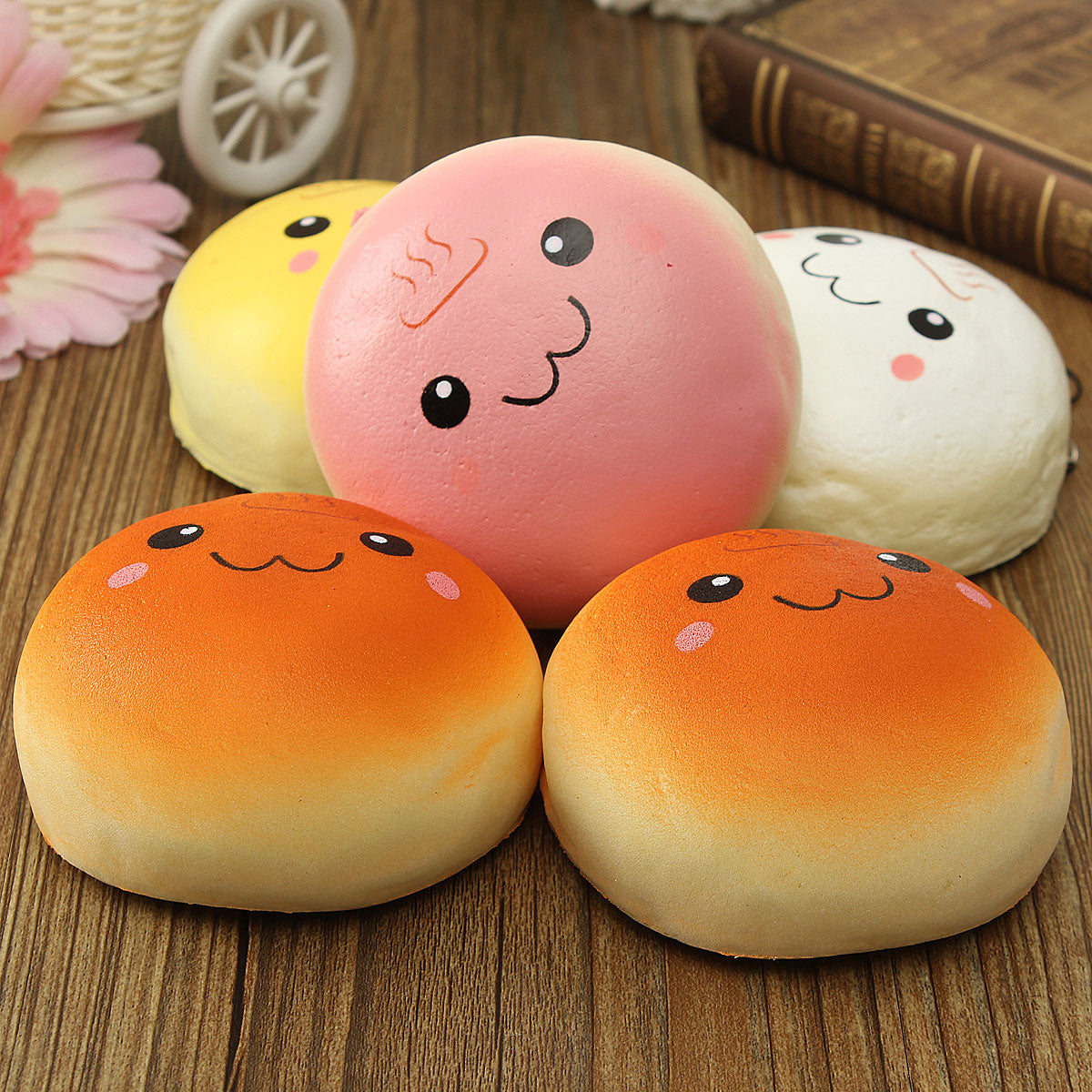 Costbuys  Smiling Expression Kawaii 10cm Cute Toy Bread Key Chain Bag Phone Charm Strap Novelty Kids Children Funny Anti Stress