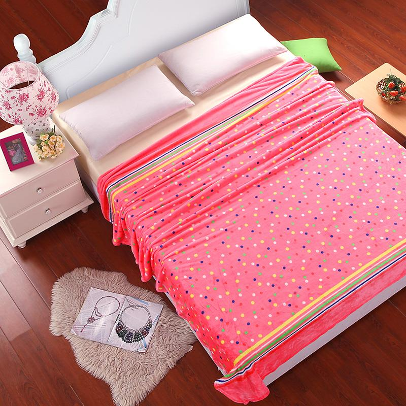 Costbuys  Soft Warm Plaid Coral Fleece Blanket on the Bed/Sofa/Plane/Travel Winter Blanket High Quality Throw Blanket - Yellow /