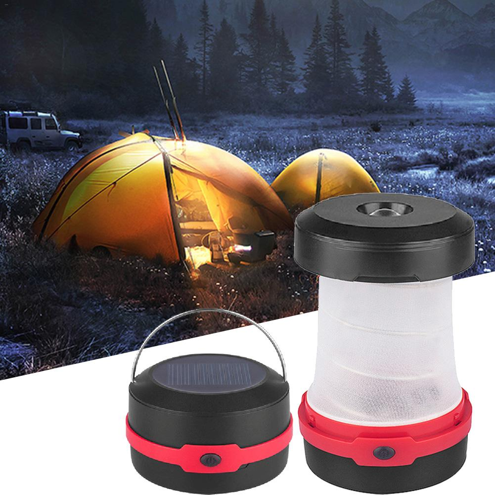 Costbuys  Solar LED Camping Light Outdoor USB Rechargeable Flashlight Mini Lamp with Handle Tour Tent Lantern Emergency Cell Pho