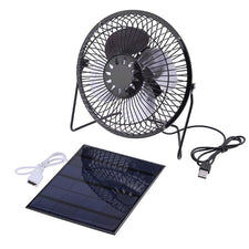 Solar Panel Powered Iron Fan Cooling Cooler Ventilation Car Cooling Fan for Outdoor Traveling Fishing Home Office 8 Inch Black