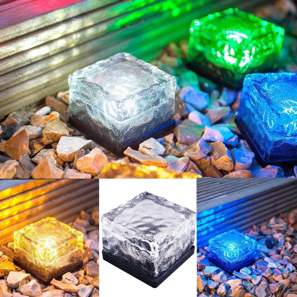 Costbuys  Solar Power LED Light Outdoor Waterproof Ground Crystal Glass Ice Brick Lawn Yard Deck Road Path Garden Decoration Sec