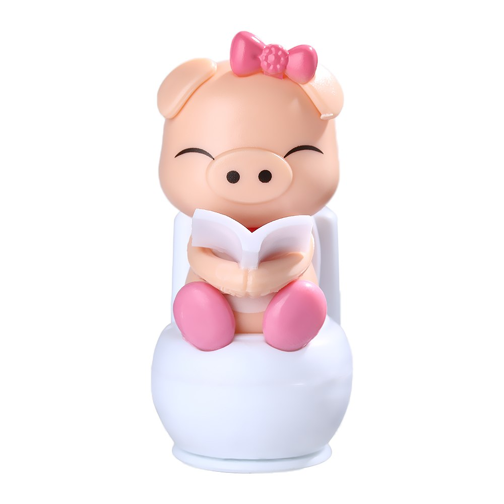 Costbuys  Solar Powered Pink/Blue Piggy Doll Toy Gift For Home/Car Decoration Cute Novelty Sitting on Toilet Pig Solar Children