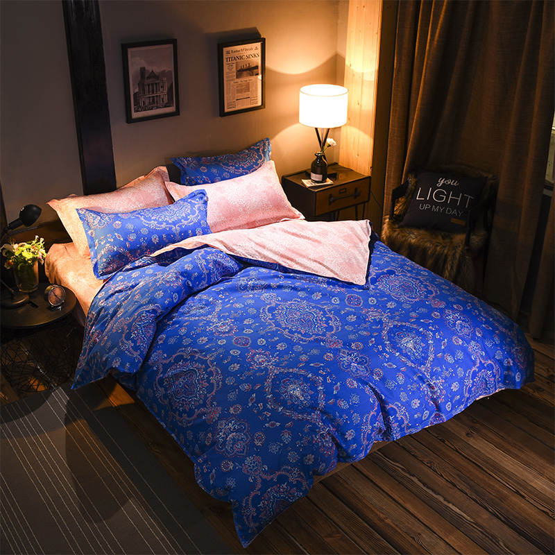 Costbuys  Luxury Bedding Set Twin Queen King Size 3pcs Bed Linen Soft Bed Cover European Bedclothes Floral Print Duvet Cover Set