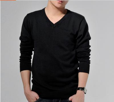 Costbuys  Spring And Summer 100% Cotton Sweater Man Casual Wear V Neck Long Sleeve Mens Knitwear Sweaters Black White Solid Pull