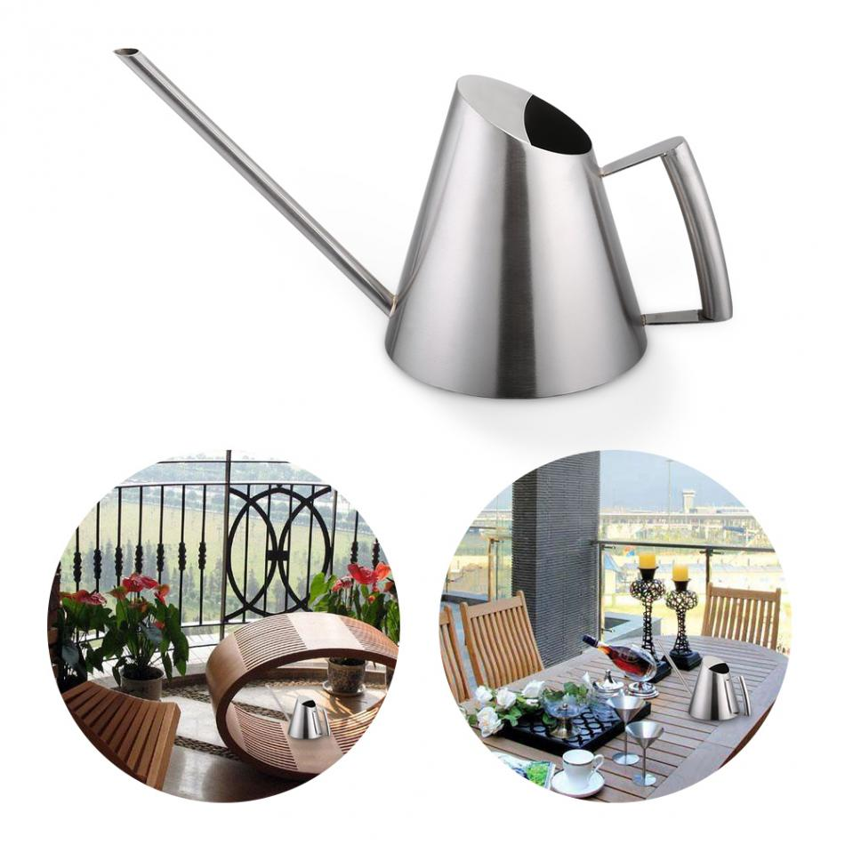 Costbuys  Stainless Steel Sprinkler Pot Watering Can For Garden Planting Long Mouth Indoor Outdoor Watering Kettle Garden Suppli