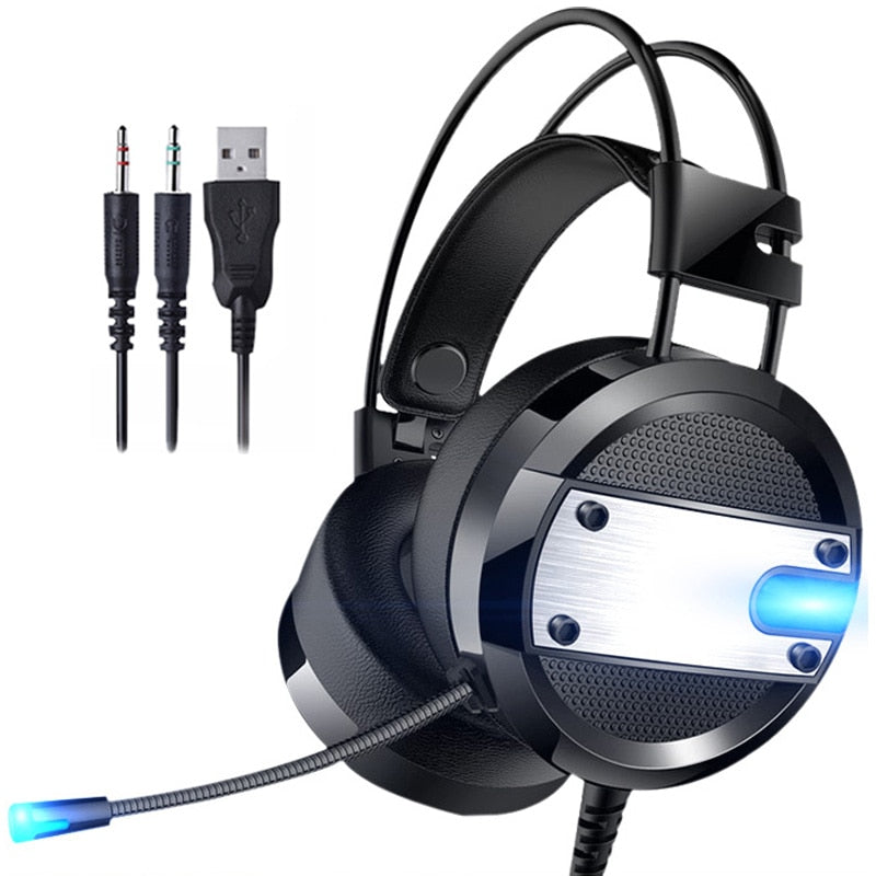 Stereo Gaming Headset Casque Deep Bass Surround Sound Over-Ear Headphones Earphone with Mic LED Light for PC Laptop Smartphone