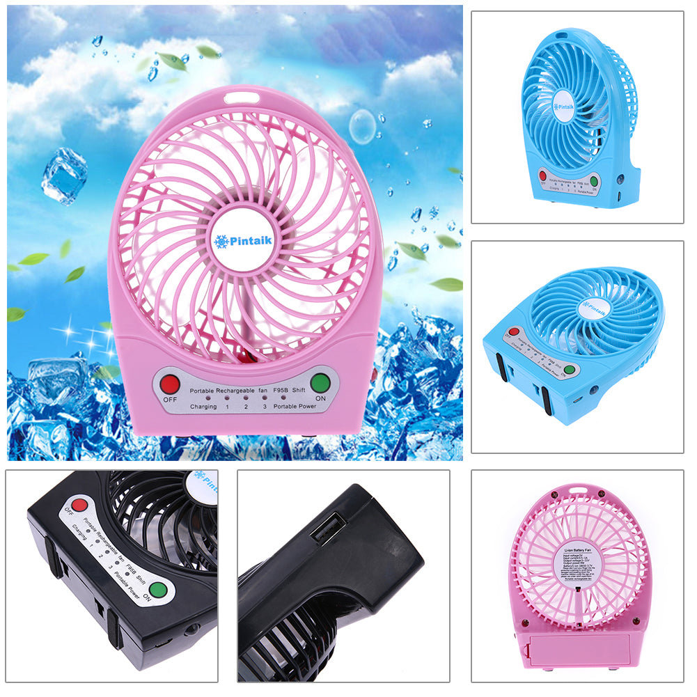 Costbuys  Summer Must-Haves Portable Mini USB Charging Fan Rechargeable Desk Fan for Home Office USB Gadget Fan - Blue