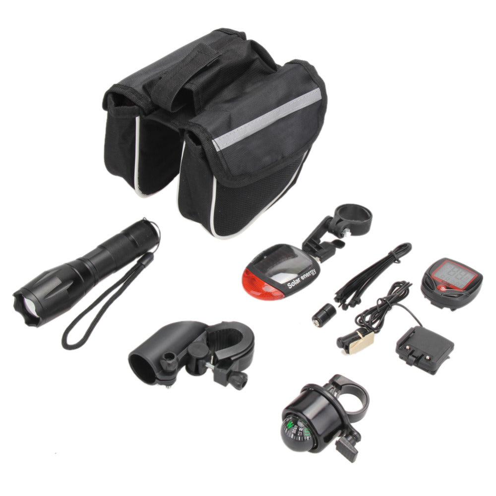 Costbuys  Super Cycling Bicycle Accessories Kit Bike Flashlight+ Bicycle Rear Tail Lights + Stopwatch+ Bike Tube Bag+ Bell+ Brac
