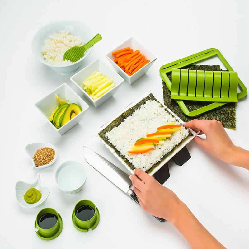 Costbuys  Sushi Quick Maker Mold Making Kit DIY Sushi Making Tools Machine Set Rice Roller Mould Roller Cutter Kitchen Accessori