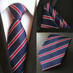 T-52 Classic Men's 100% Silk Tie Set (Handkerchief Neck Ties) Navy Blue Red Stripe Pocket Square Necktie Wedding Party Tie Hanky
