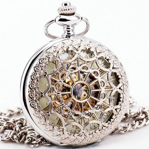 Costbuys  TD Fashion Retro Hollow Mechanical Pocket Watches for Men Women Arabic Number Dial Silver Stainless Steel Pendant Chai