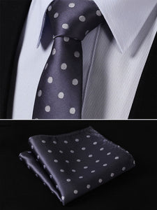 "-T3 Gray Polka Dot 2.75"" 100%Silk Jacquard Woven Classic Slim Narrow Men Tie Necktie Handkerchief Pocket Square Set"