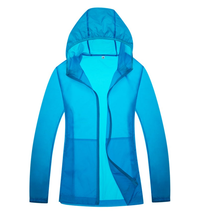 Costbuys  men women Quick dry hiking jackets outdoor sport Skin Dust Coat Waterproof UV Protection for Camping - Sky Blue / S