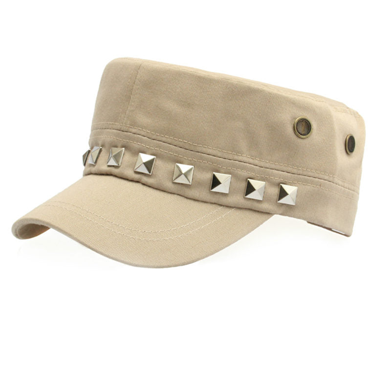 Costbuys  Cotton Military Caps Rivets Ladies Breathable Hat Army Green Black Color Women Sizes No Patterns Hats Styles - Beige_8
