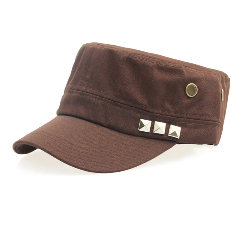 Costbuys  Cotton Military Caps Rivets Ladies Breathable Hat Army Green Black Color Women Sizes No Patterns Hats Styles - Brown